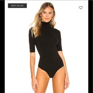 NIB COMMANDO Mockneck Short Sl Bodysuit Black OS